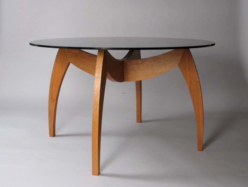 Custom Contemporary Round Dining Table With Glass Top