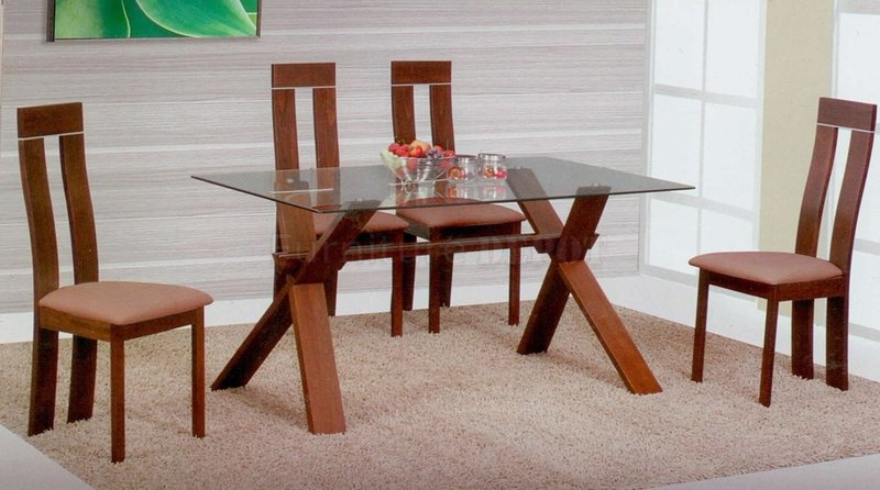 Light Brown Modern Glass Top Dining Table W/Optional