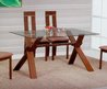 Light Brown Modern Glass Top Dining Table W/Optional Chairs