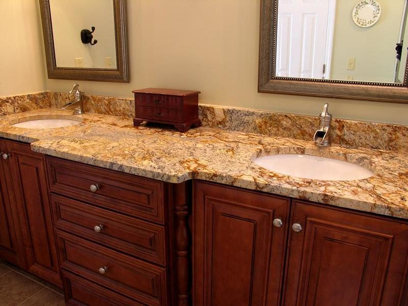 Granite bathroom countertops with dual sinks amazing design bookmark 19148 for Small bathroom countertop ideas