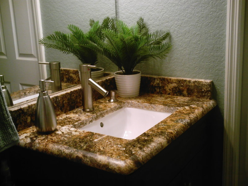 Engaging White Bathroom Sink Design Idea With Silver Faucet Brown Vanity With Cream Granite Tile