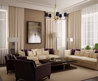 Amusing White Living Room Curtains With Cream And Dark Brown Sofa And Glass Table On The Soft Rug Also Furnitured With Black Chandelier Lighting Decoration Ideas