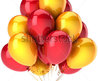 Party Balloons Yellow Red Colorful Birthday Decoration Anniversary Graduation Holiday Life Events Greeting Card Shiny Design Element. 3d Render Isolated On White Background Stock Photo 75020155