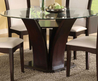 Luxurious Beveled Round Glass Dining Table With V Wooden Pattern Leg Also White Fabric Seat Wooden Dining Chairs Decor Interior Ideas