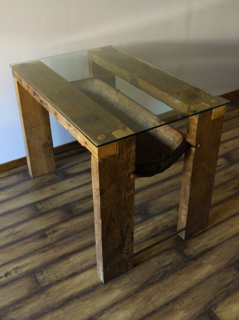 Reclaimed Wood Dining Table Glass Top Reclaimed Wood