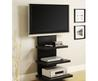 Wall Mount Tv Stand With 3 Shelves, Black, For T Vs Up To 60""