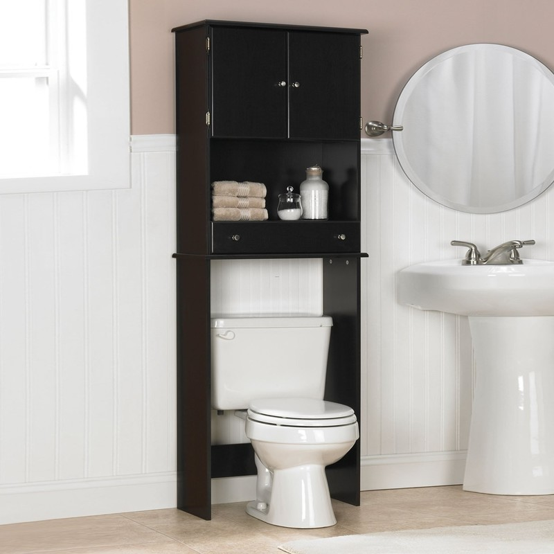 Tall Black Wooden Bathroom Cabinet On Over White Toilet ...