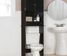 Tall Black Wooden Bathroom Cabinet On Over White Toilet Bowl Near White Washstand On Ceramics Flooring Of Modern Black Bathroom Wall Cabinet Offers Gorgeous Design For Bathroom Ideas And Furniture Black Bathroom Wall Cabinet With Towel Bar, Small Black Wa