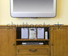 Wall Mounted Flat Screen Television Mounted Above Wooden Cabinet With Stereo Stock Photo 17232421