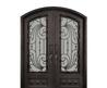 Iron Doors Unlimited 62 In. X 82 In. Mara Marea Classic 3/4 Lite Painted Silver Pewter Decorative Wrought Iron Prehung Front Door