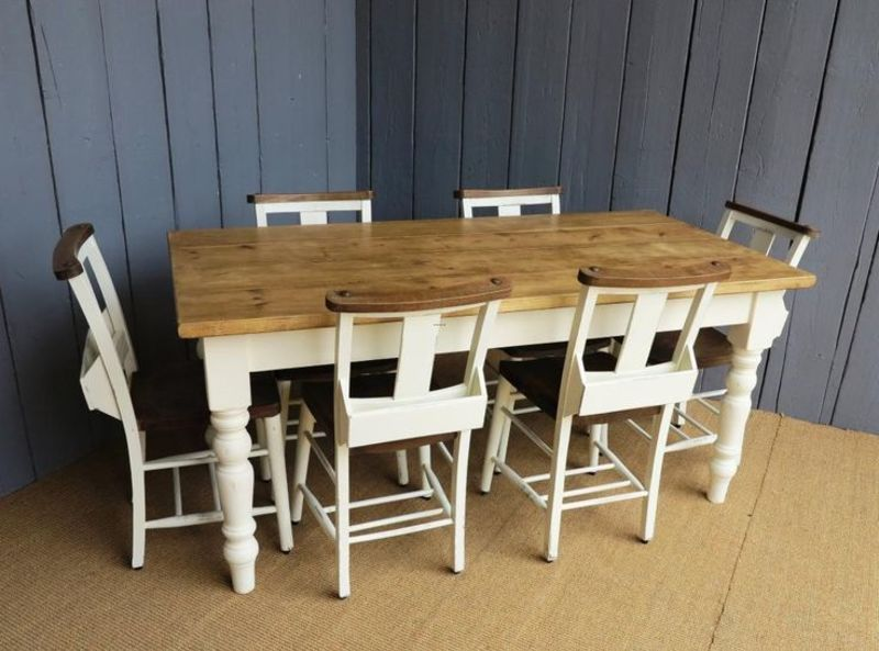 Farrow And Ball Lime White Paint Reclaimed Pine Farmhouse Table With Tapered