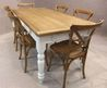 Oak And Pine Country Farmhouse Kitchen Table With A Set Of Bentwood Chairs
