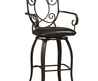 Fit The Home » Black Metal Of Discount Bar Stools Designed With Tribal High Back Ornament And Curved Arm Rest Also Sloping Legs