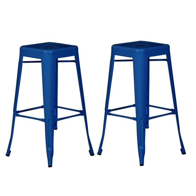 Fit The Home Blue Colored Of Discount Bar Stools In Square Shape Has Sloping Legs And Square