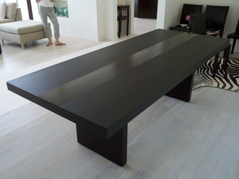 modern furniture featuring with black stained wooden long dining table