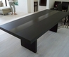 Simple Modern Furniture Featuring With Black Stained Wooden Long Dining Table With Black Stained Wooden Legs Design Ideas