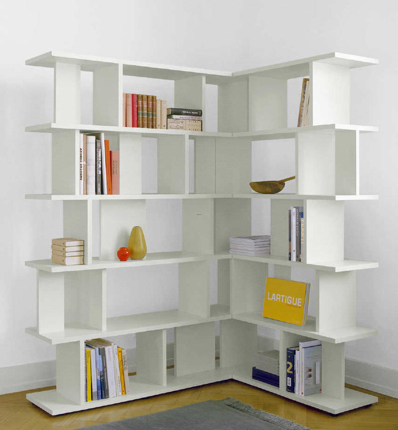 corner bookcase white
