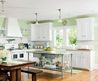 Kitchen Green Walls White Cabinets