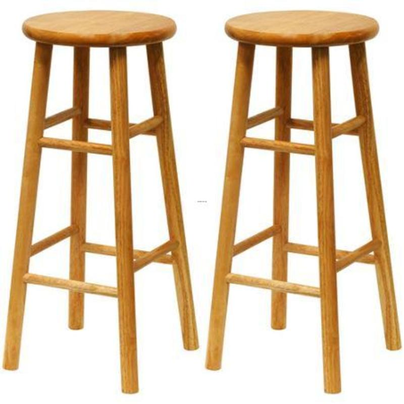 "Bar Stools, Beech Wood Bar Stools 30"", Set Of 2, Natural"