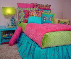 Contemporary Teen Bedroom Girls Bedding Sets With Twin White Headboard Bed, Green Pink Comforters, And Floral Multicolor Throw Pillows