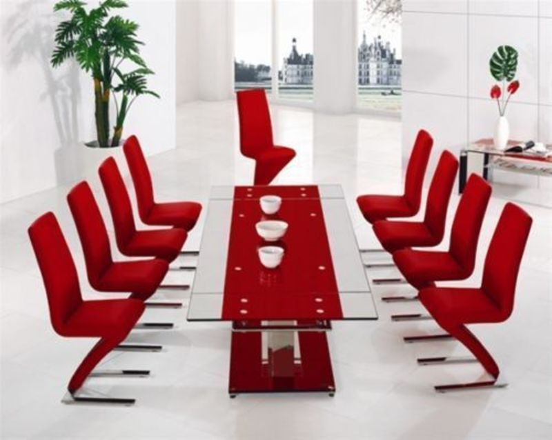 Extra large extending red glass dining table 10 chairs for 12 seater glass dining table