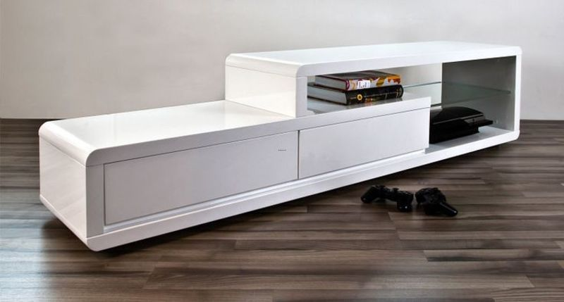 Tv Cabinet Sleek Designs, The Alessia White Gloss Tv Table Is Sleek And Modern With A Simple, Linear Design. The White High Gloss Finish Is Complemented By A Clear Glass She…