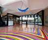Modern Day Floor Decoration With Tape Strips Generating Rainbow Coor Design