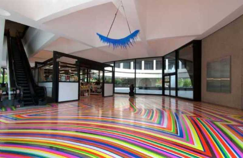 Modern Day Floor Decoration With Tape Strips Generating