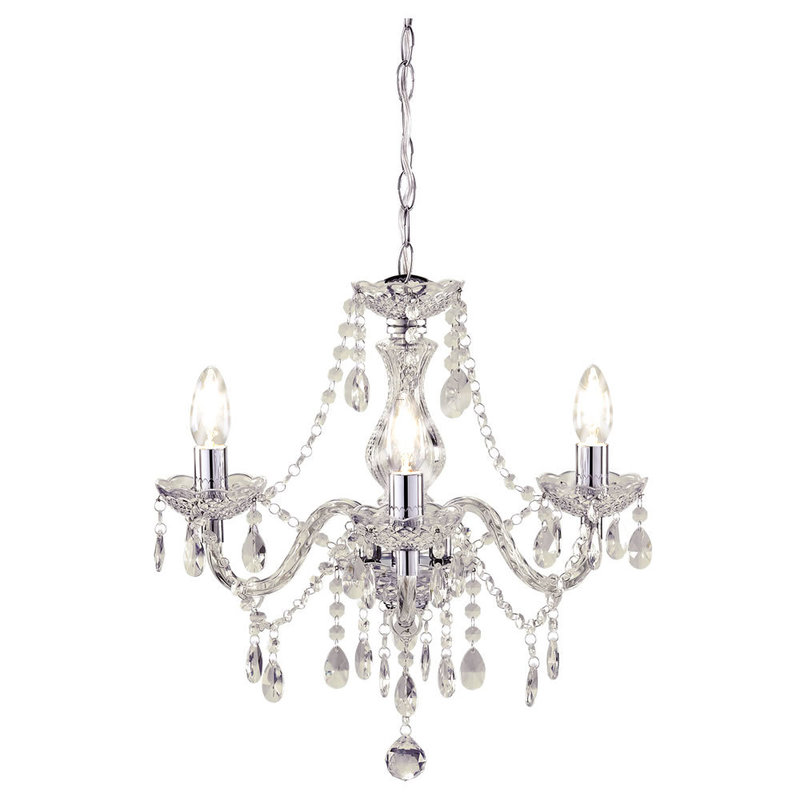 Chandelier, Wilko Marie Therese Chandelier Clear 3 Arm At Wilko.Com