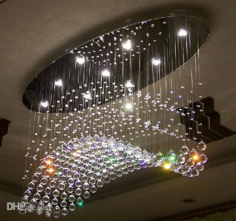 Edison Bulb Chandelier Oval Curtain Wave Modern Chandeliers Crystal Lamp Livi