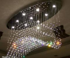 Edison Bulb Chandelier  Oval Curtain Wave Modern Chandeliers Crystal Lamp Living Room Lamp Hotel Lighting Size