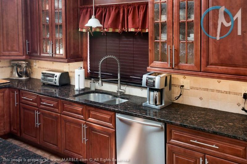 Granite Sink, Grey Granite Countertops With Cinnamon Cherry Cabinets