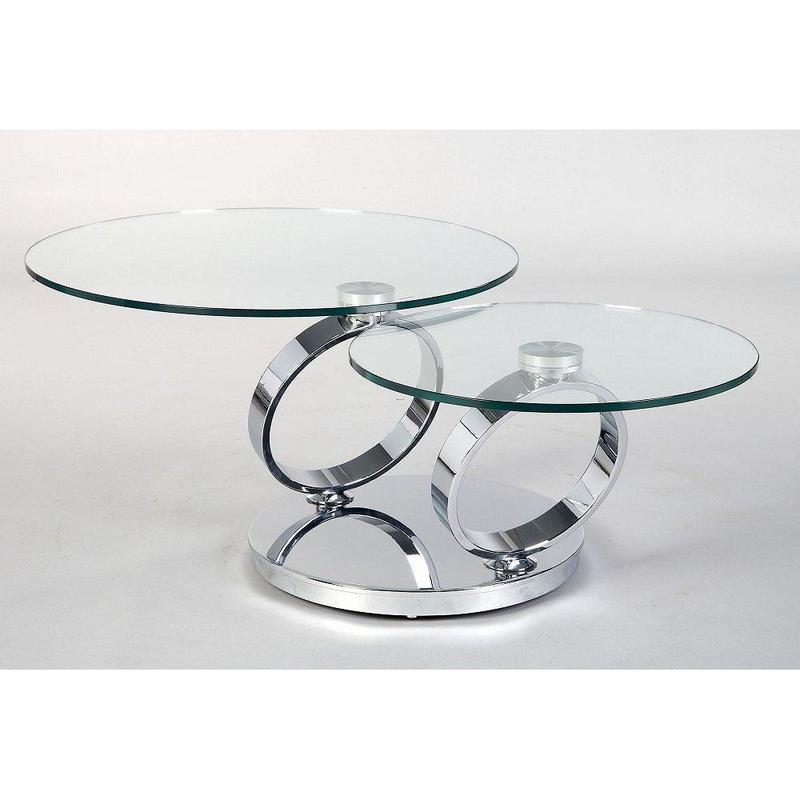 Contemporary Glass Top Coffee Table With Stainless Steel
