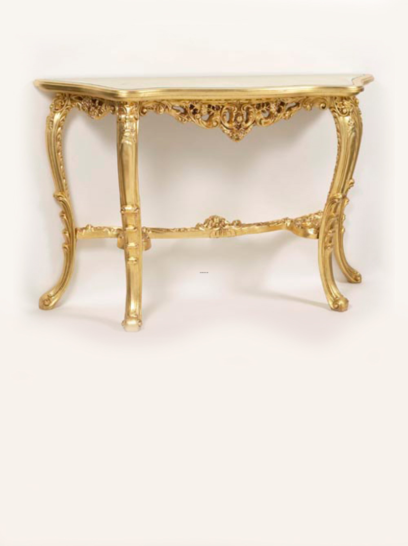 Gold Leaf Hall Table Console Table With Glass Inlay