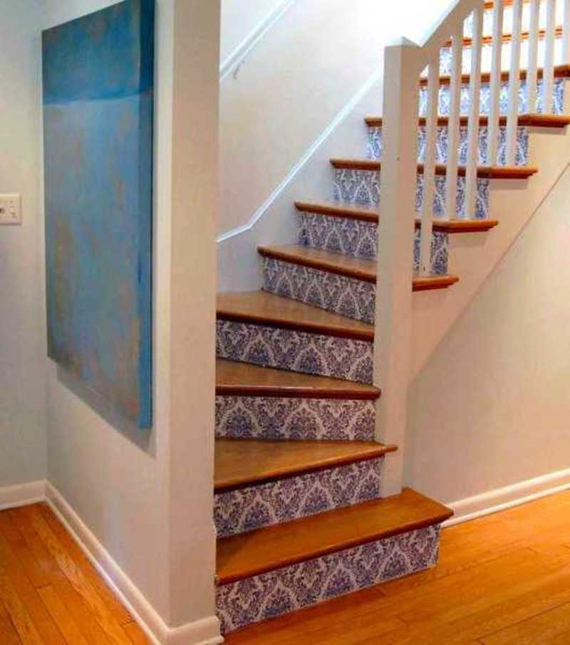 33 Staircase Designs Enriching Modern Interiors With: Adding Beautiful Wallpapers To Stairs Risers For Original