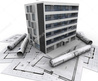 3d Rendering Of A Modern Apartment Building On Top Of Blueprints Stock Photo 117149683