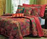 Queen Quilts Set Exotic Red Bohemian Floral Bedspread Comforters Bedding Bed Bag