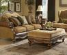 Tan Chenille W/Brown Bonded Leather Classic Sofa & Loveseat Set