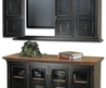 Distressed Black Stained Wooden Floating Tv Stand Above Black Stained Wooden Cabinet With Glass Door Panel. Furniture. Captivating Tv Stand For Wall Mounted Tv Design. Wall Mount Tv Bracket. Tv Mounting. Tv Cabinets For Flat Screens. Flat Tv Stand. Furnit