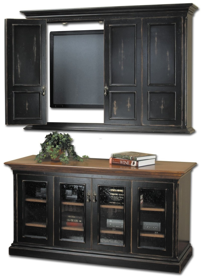 Wall Mounted Tv Cabinets For Flat Screens, Distressed Black Stained Wooden Floating Tv Stand Above Black Stained Wooden Cabinet With Glass Door Panel. Furniture. Captivating Tv Stand For Wall Mounted Tv Design. Wall Mount Tv Bracket. Tv Mounting. Tv Cabinets For Flat Screens. Flat Tv Stand. Furnit