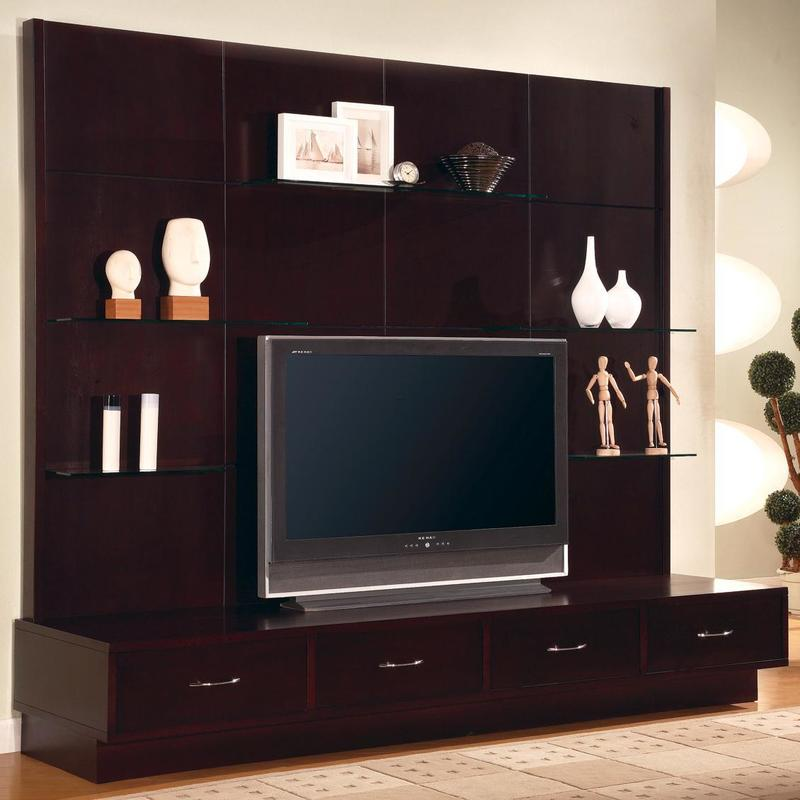 Charming Dark Brown Wood Glass Modern Design Wall Mounted Screen