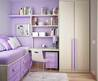 Small Bedroom Decorating Ideas For Teenage Girl Bedroom With Purple Color Scheme Use Modern Single Bed With Drawer Accompanied Purple Pillow, Study Desl And Slim Wardrobe Closet