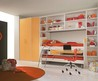 Awesome Teenage Girls Bedroom Decorating Ideas With Large White Wooden Wall Bookscase Built In Orange Wardrobe And Cool Loft Beds Also Cool Pull