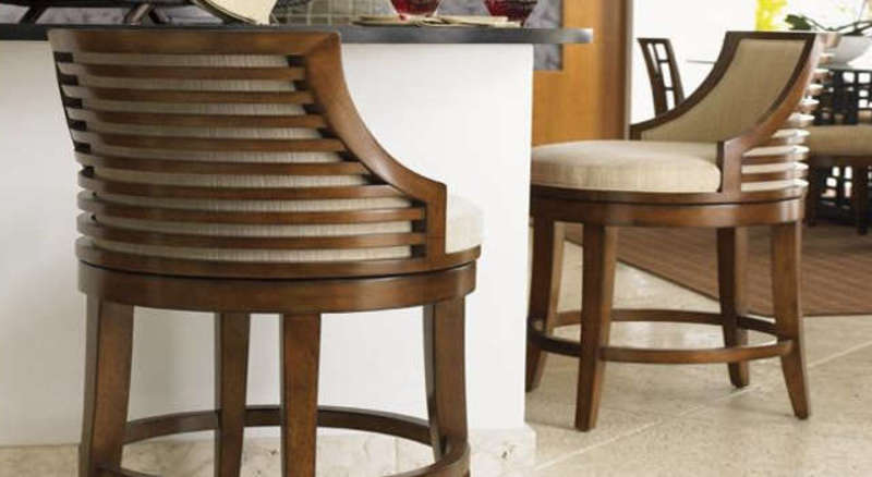 Swivel Bar Stools With Back Made Of Wood And Metal