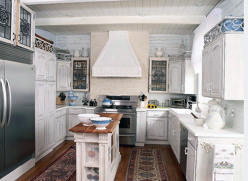 Elegant Kitchen White Galley Kitchens With Wooden Floors