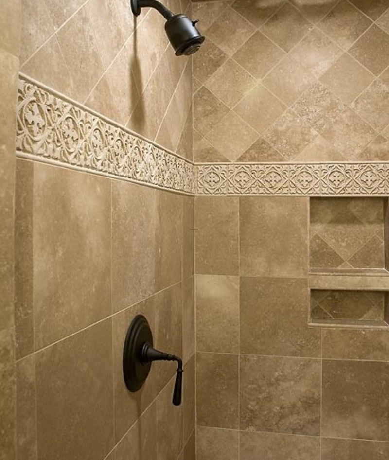 1000 ideas about shower tile designs on pinterest for Glass tile border bathroom ideas