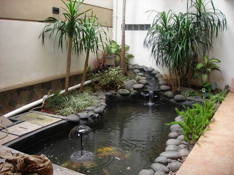 Indoor Garden, Inspiring Indoor Garden Design With Pond