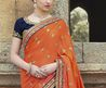 Buy Alluring Navy Blue & Orange Fashion Saree [Aprk5649] At $61.64