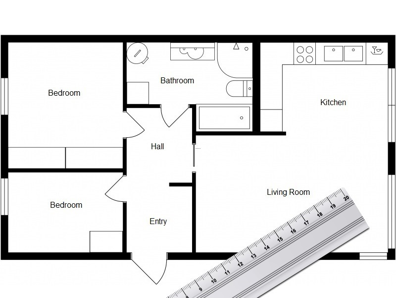 Kitchen Floor Plan Drawn By Hand By Interior Designer, Home Design Software