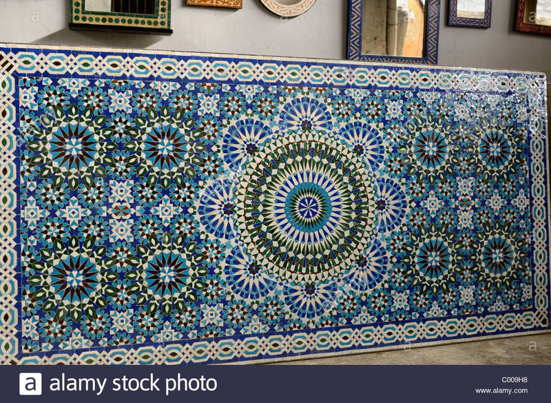 Mosaic Tile Table Top Pattern, Completed Zellige Terra Cotta Glazed Tiles Table Top Mosaic Pattern Stock Photo, Royalty Free Image